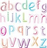 alfabet tecknade handbokstäver Arkivfoto