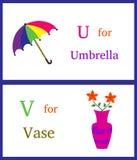 Alfabet U och V Arkivfoto