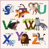 Alfabet van de jonge geitjes het vectordierentuin met dieren Stock Foto's