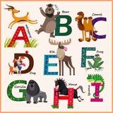 Alfabet van de jonge geitjes het vectordierentuin met dieren Royalty-vrije Stock Foto's