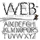 Alfabet van de Web het hand getrokken doopvont Stock Afbeelding