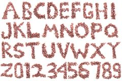 1 alfabet van koffiebonen Geïsoleerd op wit royalty-vrije stock afbeeldingen