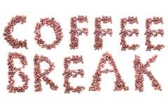 1 alfabet van koffiebonen Geïsoleerd op wit stock foto's