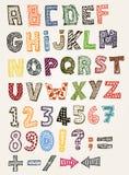Alfabet van krabbel het Buitensporige ABC Stock Foto's
