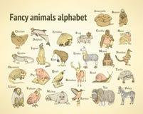 Alfabet van schets het buitensporige dieren in uitstekende stijl Stock Foto's
