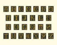 Alfabet van vroeg 16de eeuw Stock Afbeelding