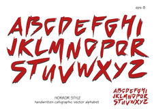 Alfabet vectorreeks rode hoofd met de hand geschreven brieven op witte achtergrond Royalty-vrije Stock Foto's