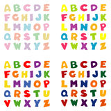 Alfabet in vier kleurenpaletten Royalty-vrije Stock Foto's