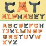 Alfabet in vlak ontwerp, kattenstijl stock illustratie
