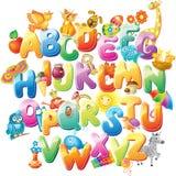 Alfabet voor jonge geitjes met beelden Stock Afbeeldingen