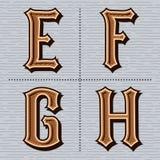 Alfabet westelijke brieven uitstekend vectore, F, g, h Royalty-vrije Stock Afbeelding
