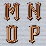 Alfabet westelijke brieven uitstekend vectorm, n, o, p Stock Afbeelding