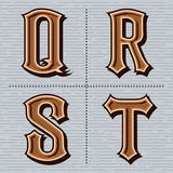 Alfabet westelijke brieven uitstekend vectorq, r, s, t Stock Afbeeldingen