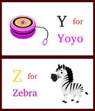 Alfabet Y och Z Fotografering för Bildbyråer