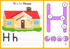 Alfabet A-Z Tracing en raadselaantekenvel, Oefeningen voor jonge geitjes - illustratie en vector royalty-vrije illustratie