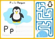 Alfabet A-Z Tracing en raadselaantekenvel, Oefeningen voor jonge geitjes - illustratie en vector vector illustratie