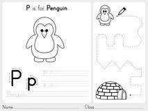 Alfabet A-Z Tracing en raadselaantekenvel, Oefeningen voor jonge geitjes - Kleurend boek Royalty-vrije Stock Foto's