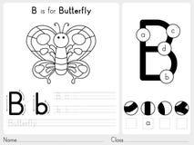Alfabet A-Z Tracing och pusselarbetssedel, övningar för ungar - färgläggningbok Royaltyfria Foton
