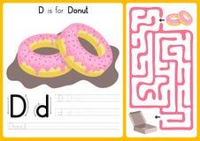 Alfabet A-Z Tracing och pusselarbetssedel, övningar för ungar - illustration och vektor stock illustrationer