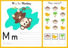 Alfabet A-Z Tracing och pusselarbetssedel, övningar för ungar - illustration och vektor vektor illustrationer