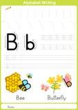 Alfabet A-Z Tracing Worksheet, övningar för ungar - papper som A4 är klart att skriva ut Arkivfoton