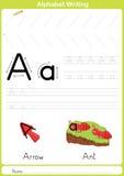 Alfabet A-Z Tracing Worksheet, övningar för ungar - papper som A4 är klart att skriva ut Arkivbild