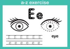 Alfabeta-z oefening met beeldverhaalwoordenschat voor het kleuren van boek royalty-vrije illustratie