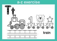 Alfabeta-z oefening met beeldverhaalwoordenschat voor het kleuren van boek vector illustratie