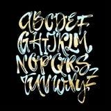 Alfabetaffiche, droge artistieke moderne de kalligrafiedruk van de borstelinkt royalty-vrije illustratie