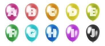 Alfabetballons geplaatst a-j Stock Foto's