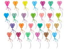 Alfabetballons geplaatst A-Z Stock Foto