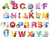 alfabetbarn avslutar stock illustrationer