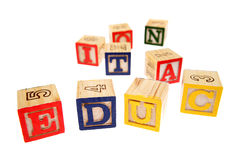 alfabetblock som lärer Arkivfoton