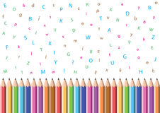 alfabetblyertspenna royaltyfri illustrationer