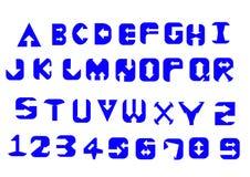 Alfabetbokstäver och nummer i pilstilbegrepp arkivfoton