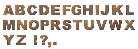 Alfabetbokstäver, trä, 3d som är trä vektor illustrationer