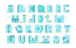 Alfabetbokstav-byggnader Du kan skriva något ord Arkivfoto