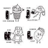 Alfabetbokstav I J K L som visar en glass, en manet, en unge och en citron alfabetelement som scrapbooking vektorn Royaltyfri Fotografi