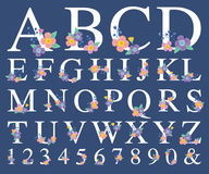 Alfabetbokstav med den dekorativa blomman stock illustrationer