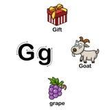 AlfabetbokstavsG-gåva, get, druvaillustration royaltyfri illustrationer