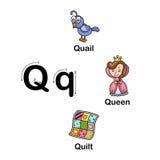 AlfabetbokstavsQ-vaktel, drottning, täckeillustration vektor illustrationer
