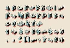 Alfabetbrieven, cijfers, symbolen isometrische vector stock illustratie