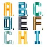 Alfabetbrieven met strepen en aantalopties Stock Afbeeldingen