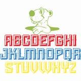 Alfabetdesign för alla skolaungar stock illustrationer