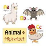 Alfabetdieren van A aan C Stock Foto's
