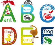 alfabetdjur stock illustrationer