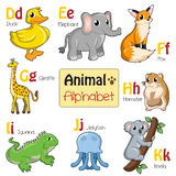 Alfabetdjur från D till K Arkivbilder