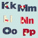 alfabetelement som scrapbooking vektorn sjaskig stil sömlös provkarta Arkivfoto