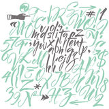 alfabetelement som scrapbooking vektorn tecknade handbokstäver Arkivfoto