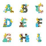 Alfabetet behandla som ett barn från A till I royaltyfri illustrationer